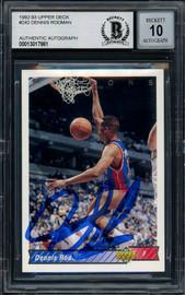 Dennis Rodman Autographed 1992-93 Upper Deck Card #242 Detroit Pistons Auto Grade Gem Mint 10 Beckett BAS Stock #194591