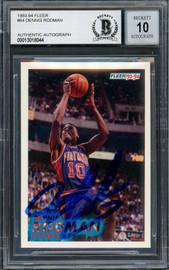 Dennis Rodman Autographed 1993-94 Fleer Card #64 Detroit Pistons Auto Grade Gem Mint 10 Blue Sharpie Beckett BAS Stock #194599