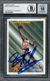 Dennis Rodman Autographed 1993-94 Fleer Card #227 Detroit Pistons Auto Grade Gem Mint 10 Beckett BAS Stock #194602