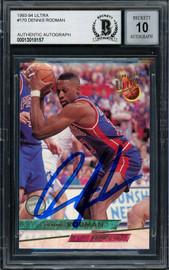Dennis Rodman Autographed 1993-94 Fleer Ultra Card #170 Detroit Pistons Auto Grade Gem Mint 10 Beckett BAS #13018157