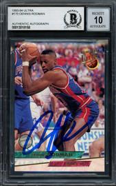Dennis Rodman Autographed 1993-94 Fleer Ultra Card #170 Detroit Pistons Auto Grade Gem Mint 10 Beckett BAS #13018158