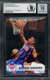 Dennis Rodman Autographed 1993-94 Hoops Card #66 Detroit Pistons Auto Grade Gem Mint 10 Beckett BAS #13018160