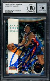 Dennis Rodman Autographed 1993-94 Skybox Card #70 Detroit Pistons Auto Grade Gem Mint 10 Beckett BAS Stock #194607