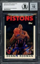 Dennis Rodman Autographed 1993-94 Topps Archives Card #86 Detroit Pistons Auto Grade Gem Mint 10 Beckett BAS #13018179