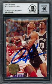 Dennis Rodman Autographed 1994-95 Fleer Ultra Card #175 San Antonio Spurs Auto Grade Gem Mint 10 Beckett BAS #13018166