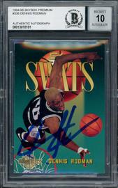 Dennis Rodman Autographed 1995-96 Skybox Swats Card #336 San Antonio Spurs Auto Grade Gem Mint 10 Beckett BAS #13018191