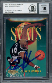 Dennis Rodman Autographed 1995-96 Skybox Swats Card #336 San Antonio Spurs Auto Grade Gem Mint 10 Beckett BAS #13018193