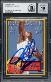 Dennis Rodman Autographed 1996-97 Fleer Card #296 Chicago Bulls Auto Grade Gem Mint 10 Beckett BAS #13018197