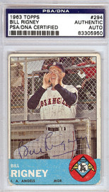 Bill Rigney Autographed 1963 Topps Card #294 California Angels PSA/DNA #83305950