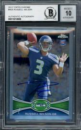 Russell Wilson Autographed 2012 Topps Chrome Card #40 Seattle Seahawks Auto Grade Gem Mint 10 Beckett BAS #13018606