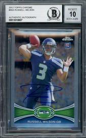Russell Wilson Autographed 2012 Topps Chrome Card #40 Seattle Seahawks Auto Grade Gem Mint 10 Beckett BAS #13018607