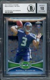 Russell Wilson Autographed 2012 Topps Chrome Card #40 Seattle Seahawks Auto Grade Gem Mint 10 Beckett BAS #13018609