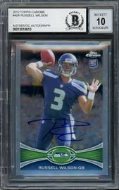 Russell Wilson Autographed 2012 Topps Chrome Card #40 Seattle Seahawks Auto Grade Gem Mint 10 Beckett BAS #13018610