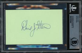 David Stern Autographed 3x5 Index Card NBA Commissioner Beckett BAS #13018666
