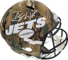Zach Wilson Autographed New York Jets Camo Full Size Replica Speed Helmet Beckett BAS QR Stock #194725