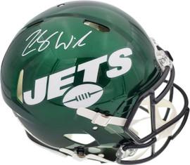 Zach Wilson Autographed New York Jets Green Full Size Authentic Speed Helmet Beckett BAS QR Stock #194727