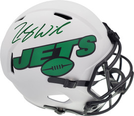 Zach Wilson Autographed New York Jets Lunar Eclipse White Full Size Replica Speed Helmet Beckett BAS QR Stock #194728