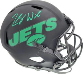 Zach Wilson Autographed New York Jets Eclipse Black Full Size Replica Speed Helmet Beckett BAS QR Stock #194730