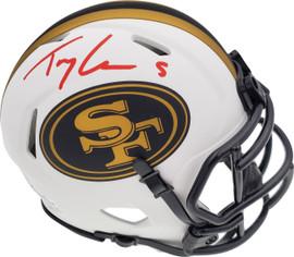 Trey Lance Autographed San Francisco 49ers Lunar Eclipse White Speed Mini Helmet Beckett BAS QR Stock #194736