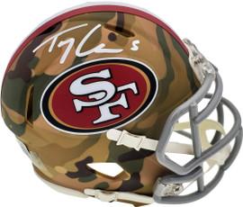 Trey Lance Autographed San Francisco 49ers Camo Speed Mini Helmet Beckett BAS QR Stock #194737