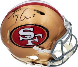 Trey Lance Autographed San Francisco 49ers Gold Full Size Authentic Speed Helmet Beckett BAS QR Stock #194739