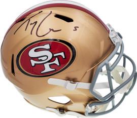 Trey Lance Autographed San Francisco 49ers Gold Full Size Replica Speed Helmet Beckett BAS QR Stock #194741