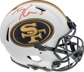 Trey Lance Autographed San Francisco 49ers Lunar Eclipse White Full Size Authentic Speed Helmet Beckett BAS QR Stock #194743