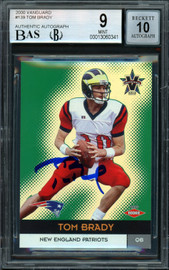 Tom Brady Autographed 2000 Pacific Vanguard Rookie Card #139 New England Patriots BGS 9 Auto Grade Gem Mint 10 #648/762 Beckett BAS #13060341