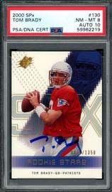 Tom Brady Autographed 2000 Upper Deck SPX Rookie Card #130 New England Patriots PSA 8 Auto Grade Gem Mint 10 #876/1350 PSA/DNA #59962219