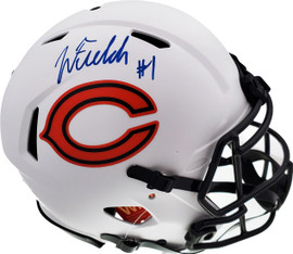 Justin Fields Autographed Chicago Bears Lunar Eclipse White Full Size Authentic Speed Helmet Beckett BAS QR Stock #194773