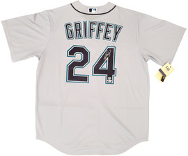 Seattle Mariners Ken Griffey Jr. Autographed Gray Nike Jersey Size L Beckett BAS & MCS Holo Stock #194786