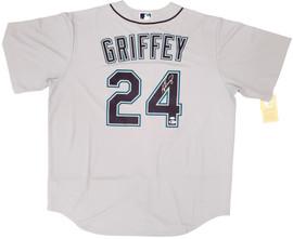 Seattle Mariners Ken Griffey Jr. Autographed Gray Nike Jersey Size XL Beckett BAS & MCS Holo Stock #194787