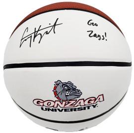 "Corey Kispert Autographed Gonzaga Bulldogs White Logo Basketball ""Go Zags!"" MCS Holo Stock #194802"