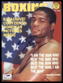 Riddick Bowe Autographed 8x11 Boxing World Magazine Cover PSA/DNA #Q95942