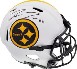 Pat Freiermuth Autographed Pittsburgh Steelers Lunar Eclipse White Full Size Replica Speed Helmet Beckett BAS QR Stock #194877