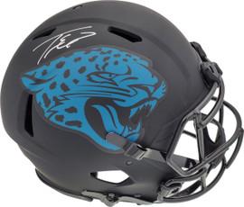 Travis Etienne Autographed Jacksonville Jaguars Eclipse Black Full Size Authentic Speed Helmet Beckett BAS QR Stock #194884