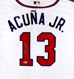 Atlanta Braves Ronald Acuna Jr. Autographed White Majestic Cool Base Jersey Size L Beckett BAS Stock #194888