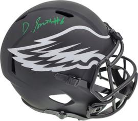 DeVonta Smith Autographed Philadelphia Eagles Eclipse Black Full Size Replica Speed Helmet Beckett BAS QR Stock #194900