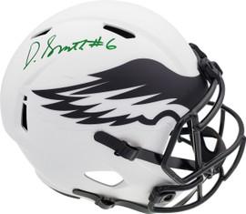 DeVonta Smith Autographed Philadelphia Eagles Lunar Eclipse White Full Size Replica Speed Helmet Beckett BAS QR Stock #194903