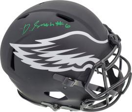 DeVonta Smith Autographed Philadelphia Eagles Eclipse Black Full Size Authentic Speed Helmet Beckett BAS QR Stock #194904