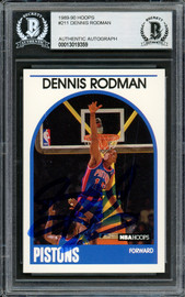 Dennis Rodman Autographed 1989-90 Hoops Card #211 Detroit Pistons Beckett BAS Stock #194990