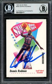 Dennis Rodman Autographed 1991-92 Skybox Card #608 Detroit Pistons Beckett BAS #13020177