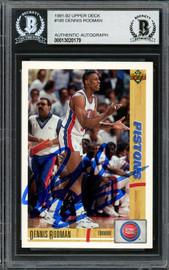 Dennis Rodman Autographed 1991-92 Upper Deck Card #185 Detroit Pistons Beckett BAS Stock #195025