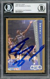 Shaquille Shaq O'Neal Autographed 1992-93 Fleer Rookie Card #401 Orlando Magic Beckett BAS #13020211