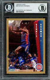 Dennis Rodman Autographed 1992-93 Fleer Card #66 Detroit Pistons Beckett BAS #13020222