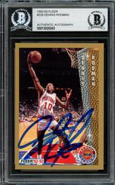 Dennis Rodman Autographed 1992-93 Fleer Card #239 Detroit Pistons Beckett BAS Stock #195047
