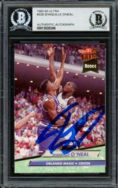 Shaquille Shaq O'Neal Autographed 1992-93 Fleer Ultra Rookie Card #328 Orlando Magic Beckett BAS #13020246