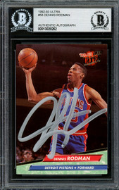 Dennis Rodman Autographed 1992-93 Fleer Ultra Card #58 Detroit Pistons Beckett BAS Stock #195051