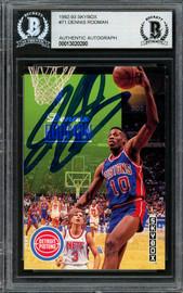 Dennis Rodman Autographed 1992-93 Skybox Card #71 Detroit Pistons Beckett BAS #13020280