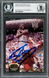 Shaquille Shaq O'Neal Autographed 1992-93 Stadium Club Rookie Card #247 Orlando Magic Beckett BAS #13020282